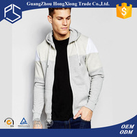 Guangzhou factory oem service high quality zip up with hood 100%cotton fleece autumn two tone hoodies