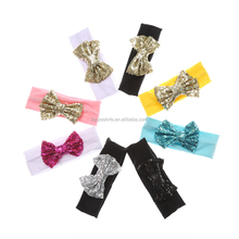 Latest wholsale baby kids cotton headband with sequin bows