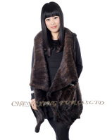 CX-G-B-254B Turn-down Collar Knitted Women Vest Real Mink Fur Garment