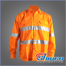 Shinco 100% cotton orange hi vis flame resistant work shirts