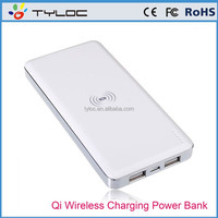 Qi wireless charger 10000mah power bank for QI compatible smartphones