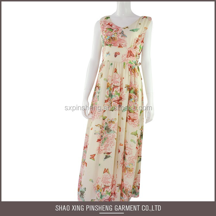 Alibaba Supply Very Soft chiffon casual Floral summer slim new fashion ladies dress