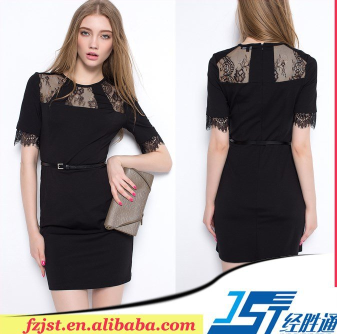 2015 cheap sexy black woman casual lace dress