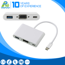 15cm Type C to VGA Adapter and 1 port USB 3.0 hub with PD Charging port