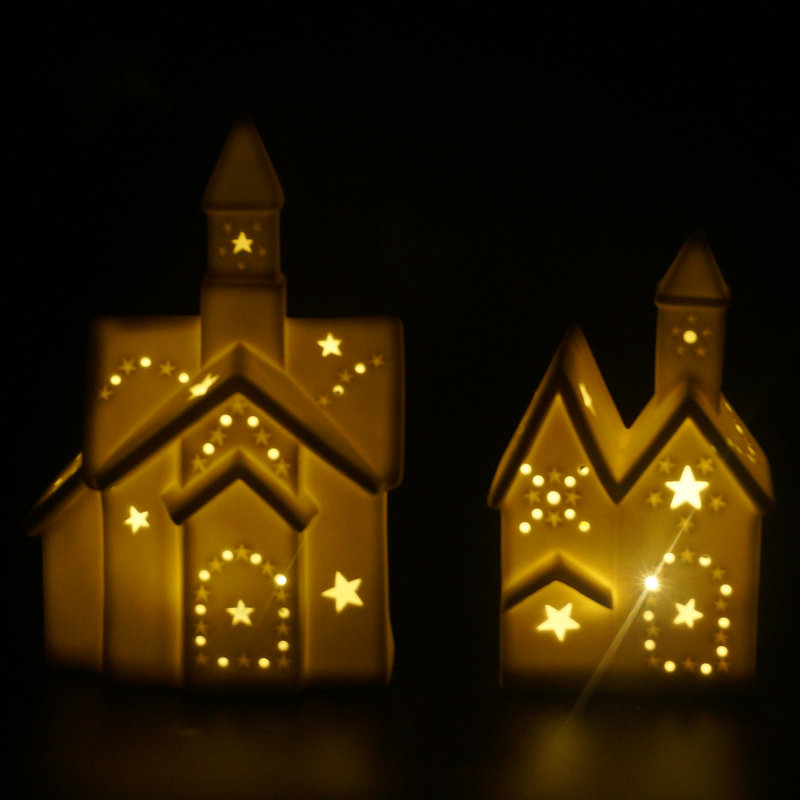 white house shaped unpainted ceramic christmas houses with led light buy ceramic christmasceramic christmas housesled light ceramic christmas product on - Ceramic Christmas Houses
