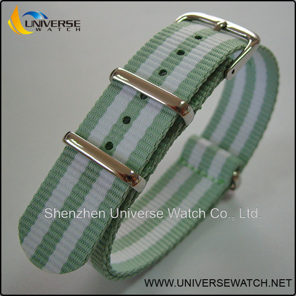 Mixed green and white nylon watch strap buckle 28mm
