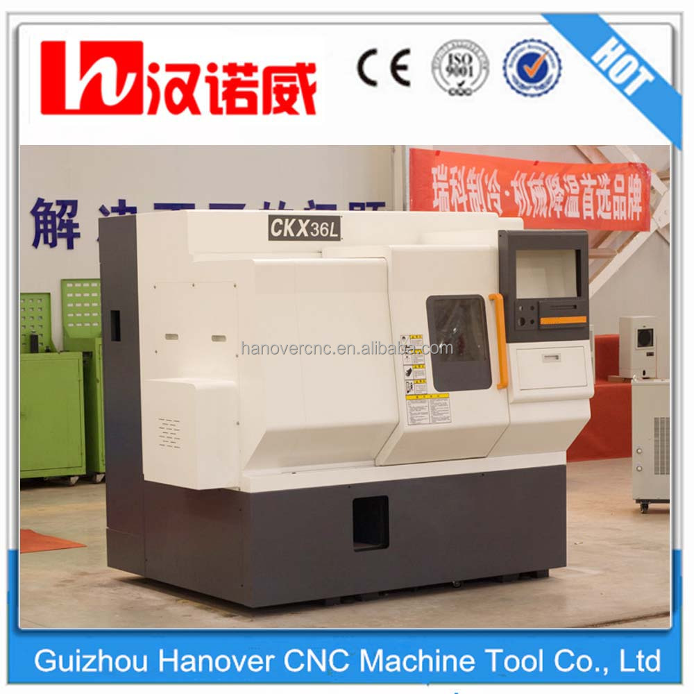 "small cnc lathe machine CKX36L linear guideway 5"" hydraulic chuck 4 station gang tool 46mm spindle bore slant bed deisgn lathe"