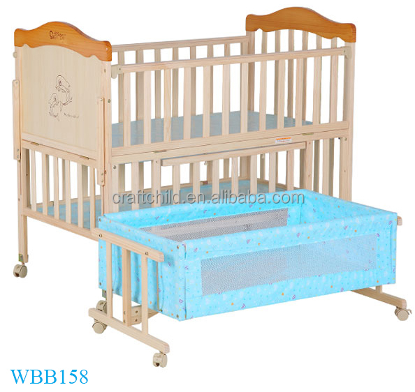 Pan solid wood adult baby crib , Three gears adjusted automatic Children cots with wheels , Attached baby folding cots