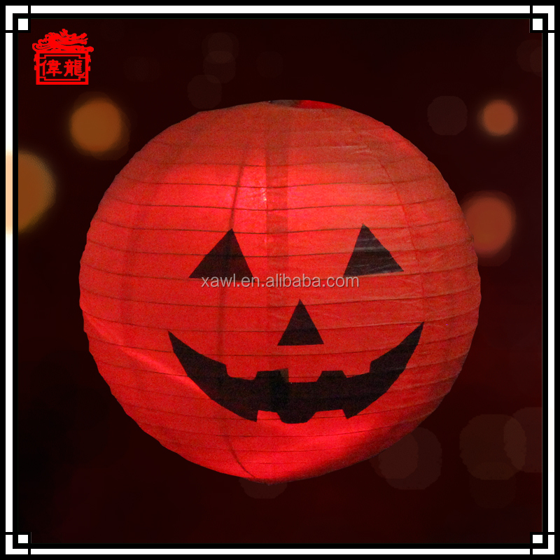 Halloween Festival Decoration Pumpkin Round Paper Lantern Craft ZDL06-3