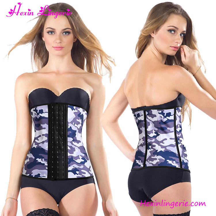 Wholesale 9 Steel Boned Purple Gray Camouflage Corset Waist Trainers