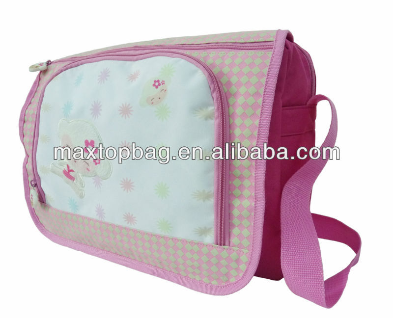 Girl messenger bag,300D/PVC, monkey pattern, zippered compartment & adjustable shoulder strap