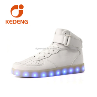 White /Black Men LED Shoes High Top Growing Shoes For Man Luminous Lights Shoes
