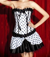 Black White Corset+Mini Skirt Bridesmaid Costume 8-10 M