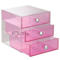 Pink acrylic storage boxes, colorful perspex 3 drawer storage organizers, lucite home stackable cases