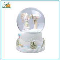 Modern useful custom best gifts white resin cute kid crystal snow globe water ball