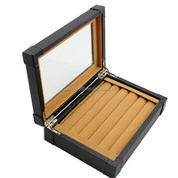 Large fancy wooden leather jewelry box Ring display box jewelry case