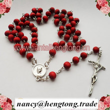 perfumer rose scent wood beads religious Pope Francis catholic rosary necklace with crucifix &plastic saint case