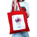custom personalized red cotton tote bags printed logo