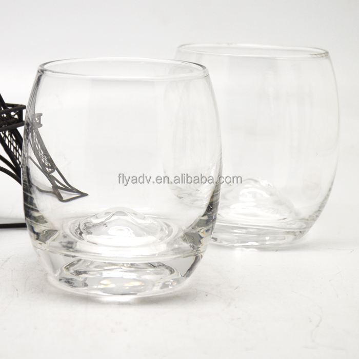 hand blown clear glass tumbler with convex ball based, big bubble bottom DOF
