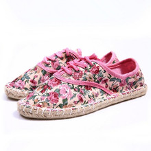 Multi colors floral printing fabric china canvas shoes handmade espadrille shoe