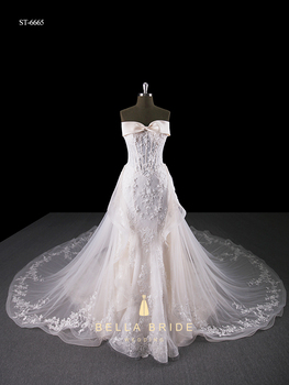 Beaded Pearls Sequined Empire Bridal Luxury Wedding Dress