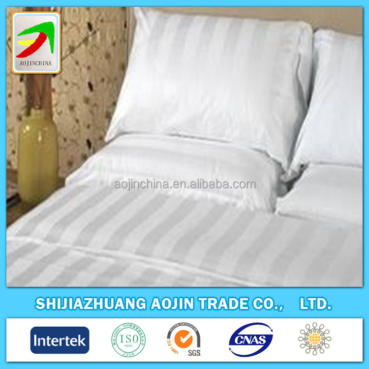 Wholesale hotel use bleached white satin stripe fabric / cotton bedding cloth supplier