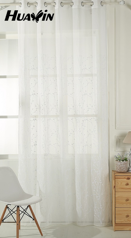 White beautiful ready made white sheer voile embroidery curtain for office