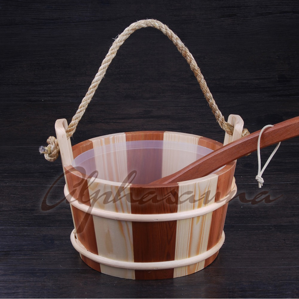 White Pine & Red Cedar Traditional Sauna Barrel Bucket Matching Ladle Finland Sauna Style