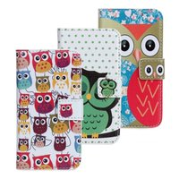 Cute Cartoon Owl Design Wallet PU Leather Case Cover for Apple iPhone 4 4S 4G Mobile Phone Bag Pouch Card Holder with Stand