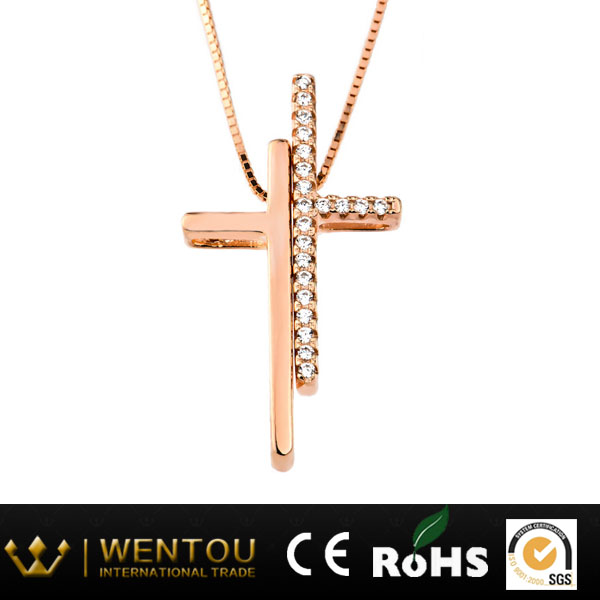 Crystal cross pendant necklace jewelry