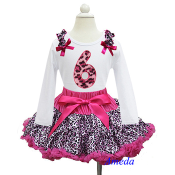 Hot Pink Leopard Pettiskirt with Leopard 6th Birthday White Long Sleeves Tee 1-7Y