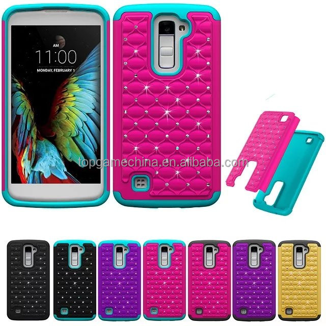 2 in1 Hybrid PC +Silicon Soft Gel Phone Case Cover For LG <strong>K10</strong> M2 Cellphone heavy duty case