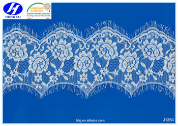 Hongtai 2017 high quality french style eyelash lace trim in china