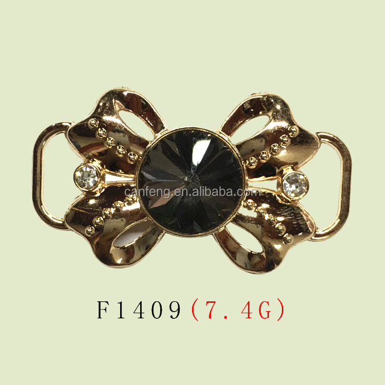 zinc alloy metal shoe buckle decorative dress buckle with glass stone