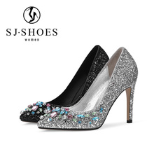 5554 easily wear ladies glitter dress shoes with beautiful rhinestone classic high heels dress shoes online