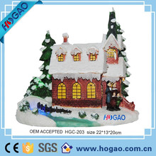 Christmas decoration scene family village snow house with led lighting