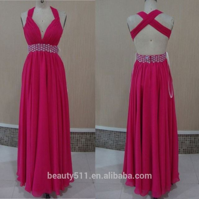 2017 New Fashion Custom Made Elegant A-line Halter high neck chiffon with sashes long evening dress prom dresses ED17