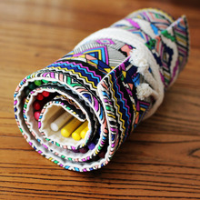2016 Custom wholesale color canvas roll up pencil case 72 pencil bag