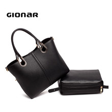 2017 New Modern Woman Designer Real Leather Hand Bags 2 Pieces Organiser Yiwu Market Handbag