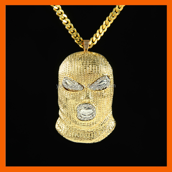 LT JEWELRY 2017 MEN WOMEN CRYSTAL AGAINST ANTI-TERRORISM HEADGEAR NECKLACES PENDANTS GOLDEN CSGO MASK CHAIN BLING GIFTS