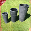 3-PC cylindrical shape stackable plastic wicker outdoor garden pots large