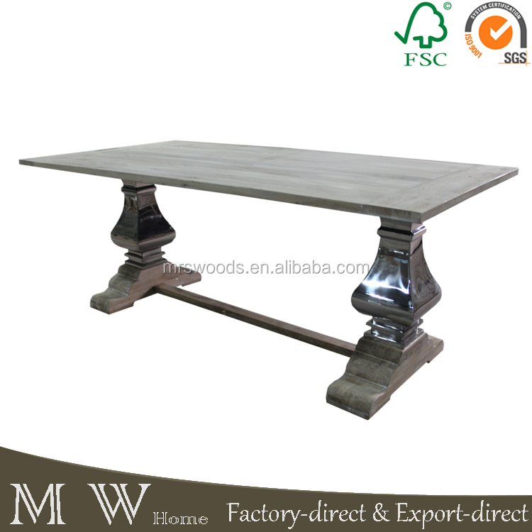 country style solid oak table wood top stainless steel leg base rustic french furniture