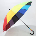 2017 Most Selling Custom Fancy Handle Chromatic Straight Rainbow Umbrella