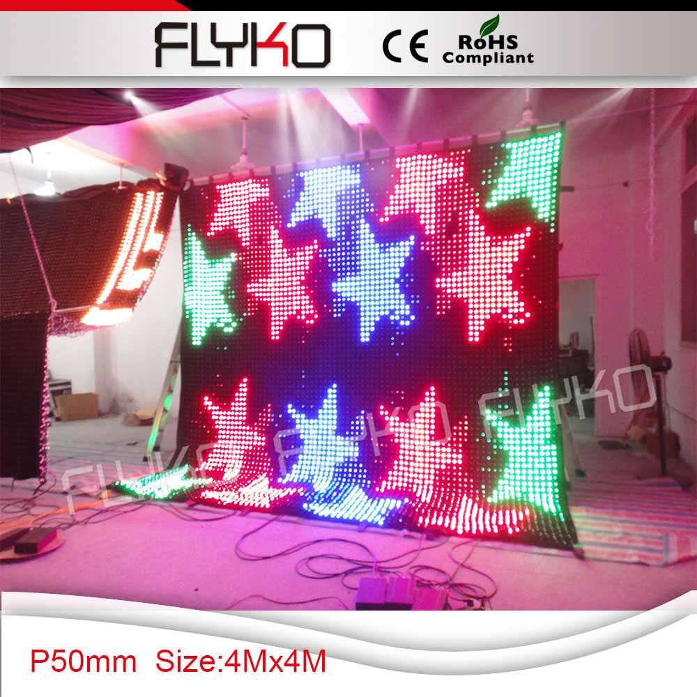 Cheap Price Pitch 50mm 4x4m Led Video Curtain With Off Line Remote Control Led Graphic Curtain, DJ Booth
