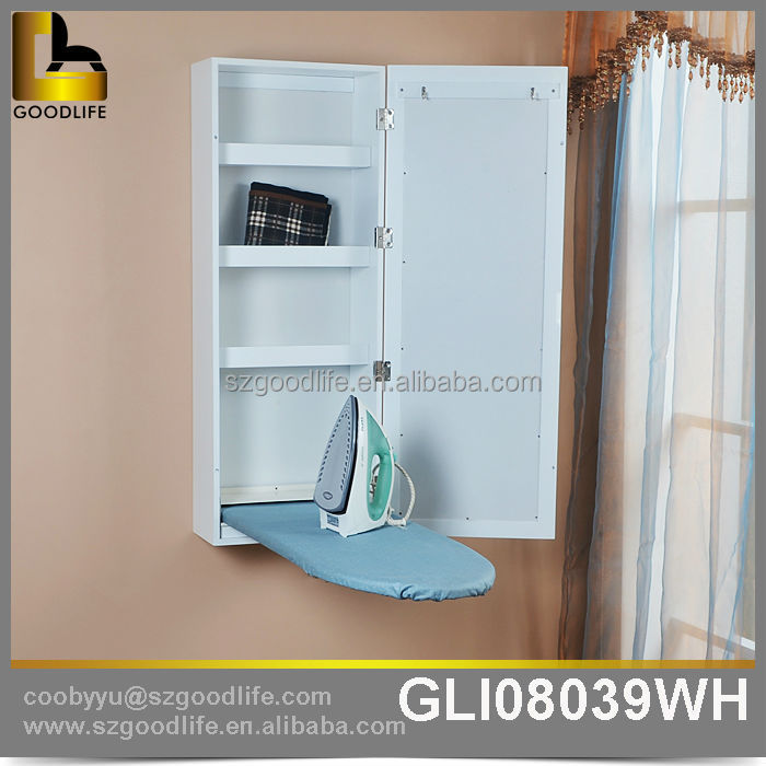 Wall mounted wooden ironing board cabinet with mirror