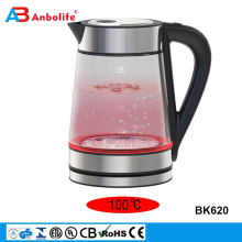 1.8L 120/220V rapid boil 304 stainless steel cordless keep warm function electric thermo glass water kettle with color changing