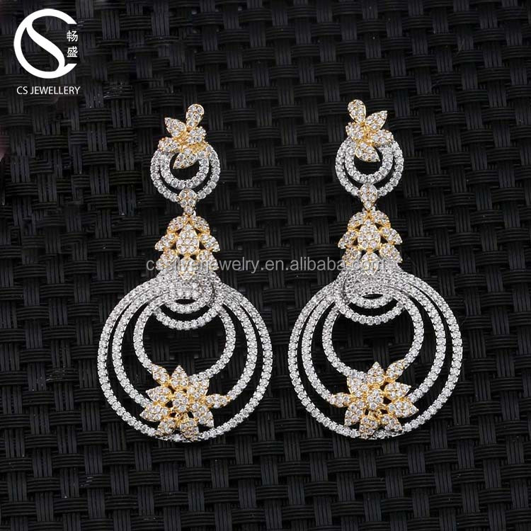 0-15753 Top designs AAA Zirconia Dubai Gold Jewelry Earrings For Party