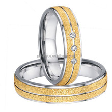 Factory wholesale unique surface pure titanium jewelry 18k gold plated his and hers wedding band rings sets for couples