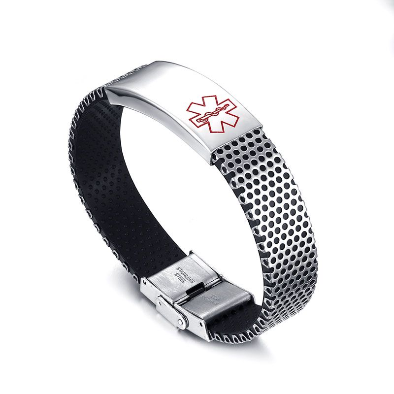 Yiwu Meise Stainless Steel Curved Medical Sign Bracelet