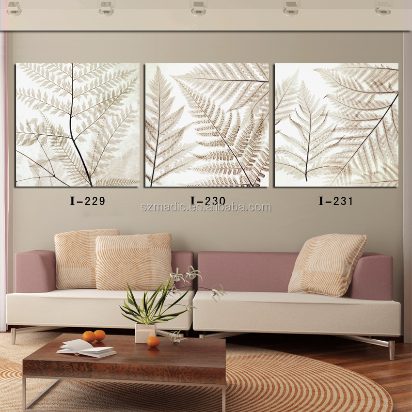 Decoration Wall Scenery Painting 3 Panel Modern <strong>Art</strong> on Canvas of Tree Leaves